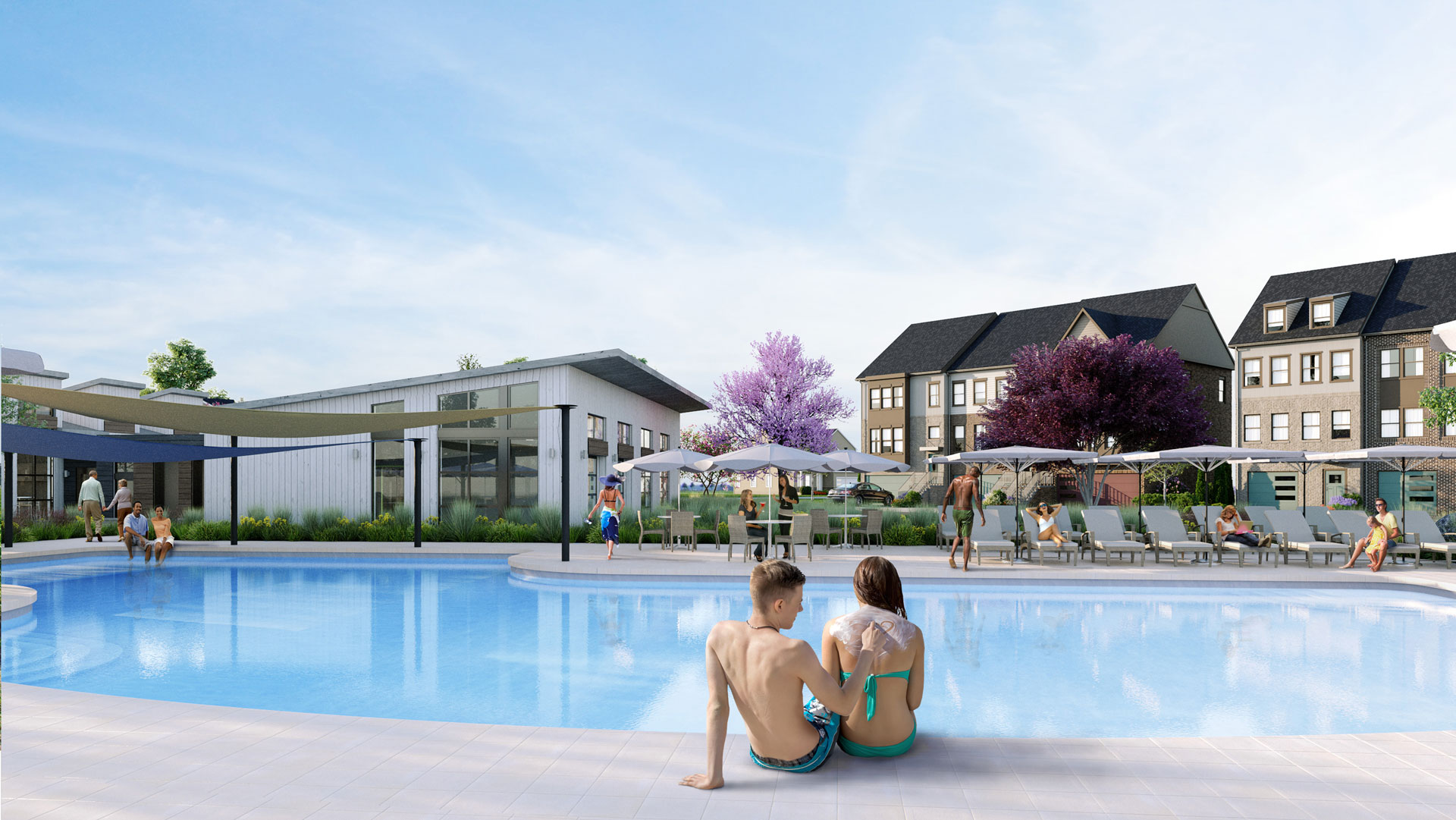 soak up the sun and relax by the pool at this new community of waterfront homes in maryland